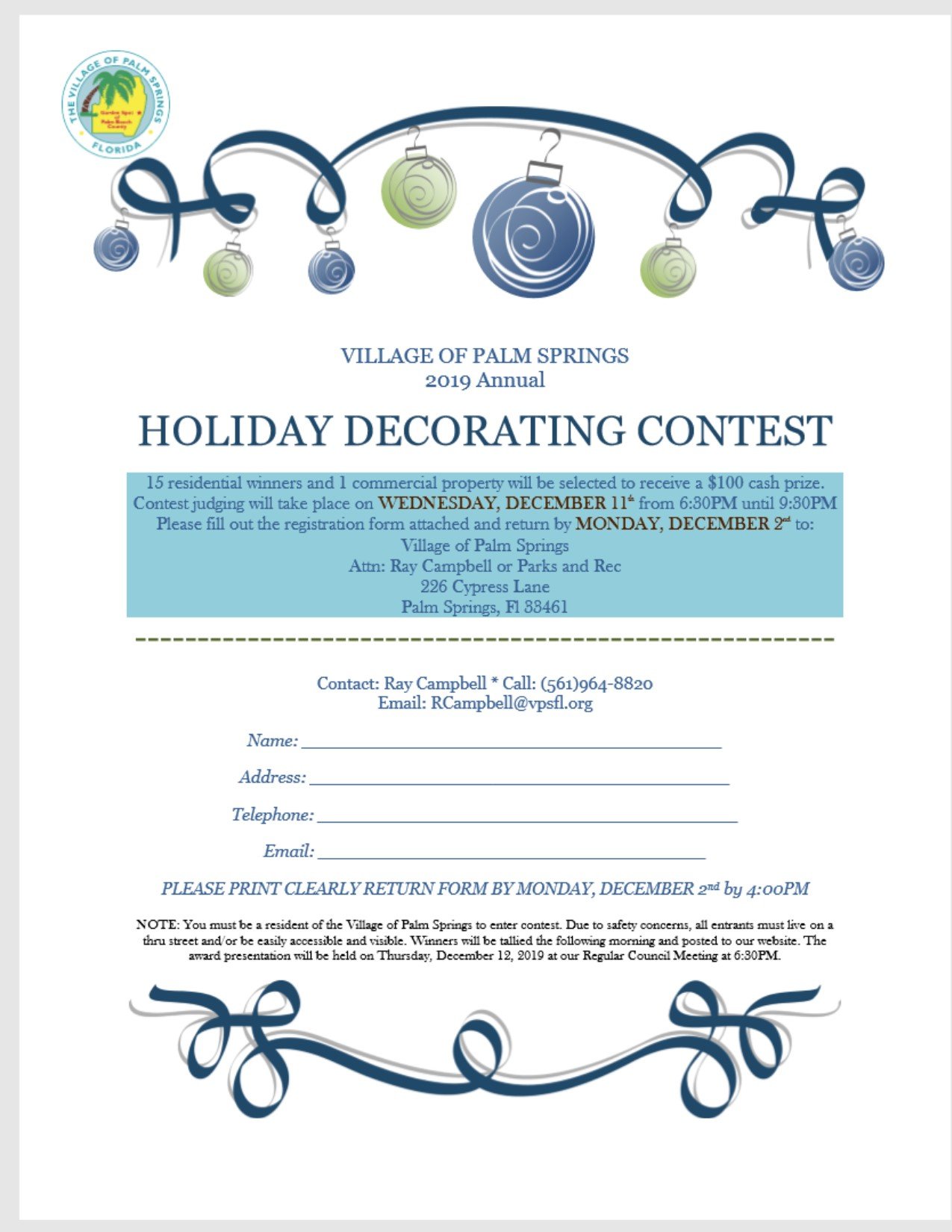 Holiday Contest Form 2019