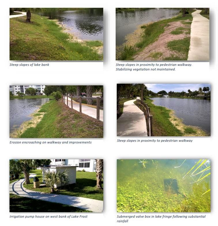 Lake Frost Group photos, water elevation, bank erosion, steep bank slope an filled catch basin