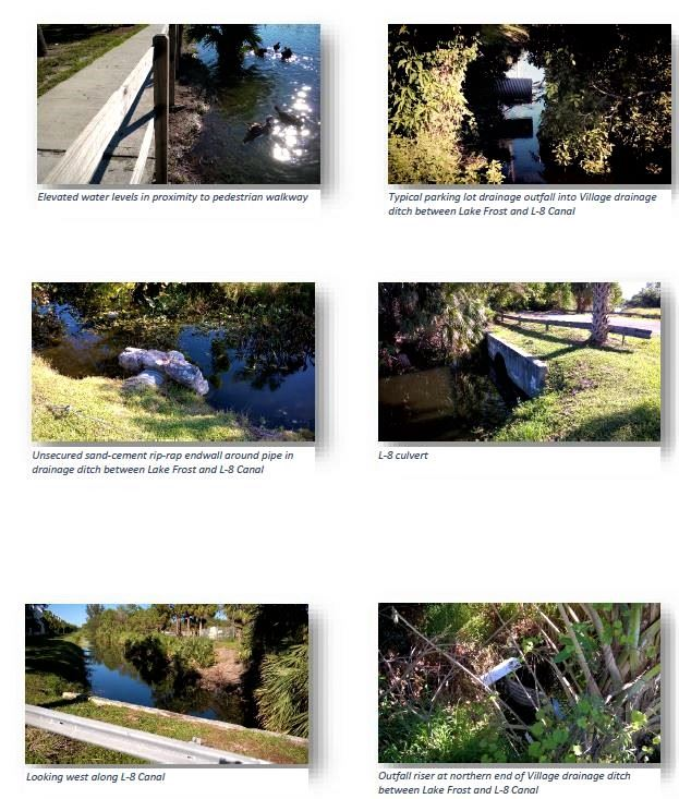 Lake Frost Group photos L-8 canal, elevated water levels, outfall at L-8, drainage ditch between Lake frost and L-8