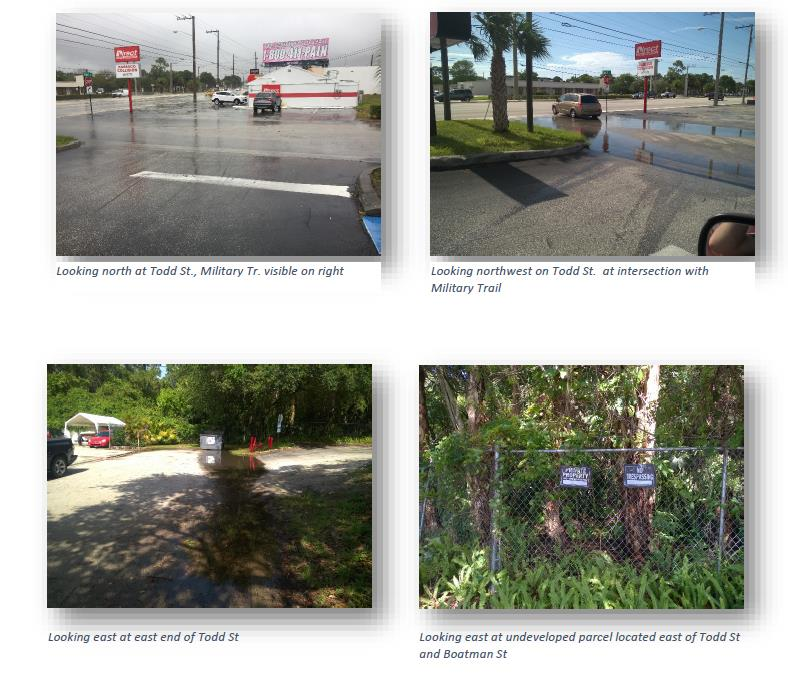 multiple pictures of Todd Street looking at standing water and a empty lot
