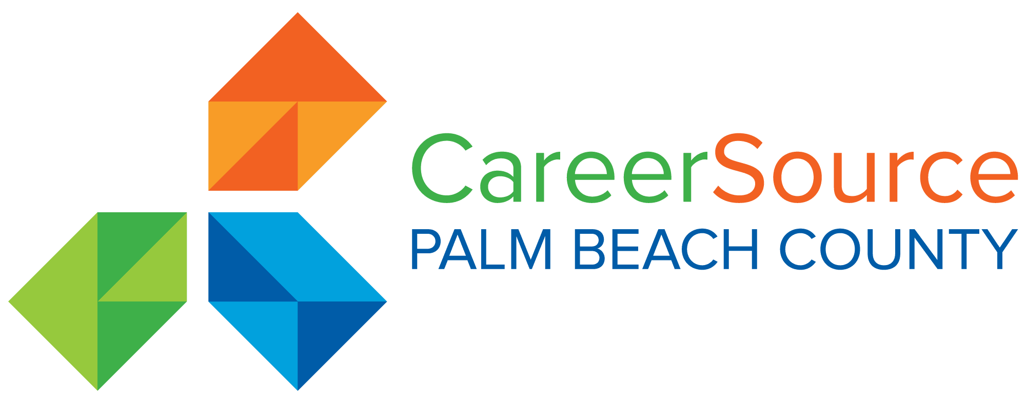 Career Source Palm Beach County Logo - Green, Red and Blue arrows pointing inwards with company name Opens in new window