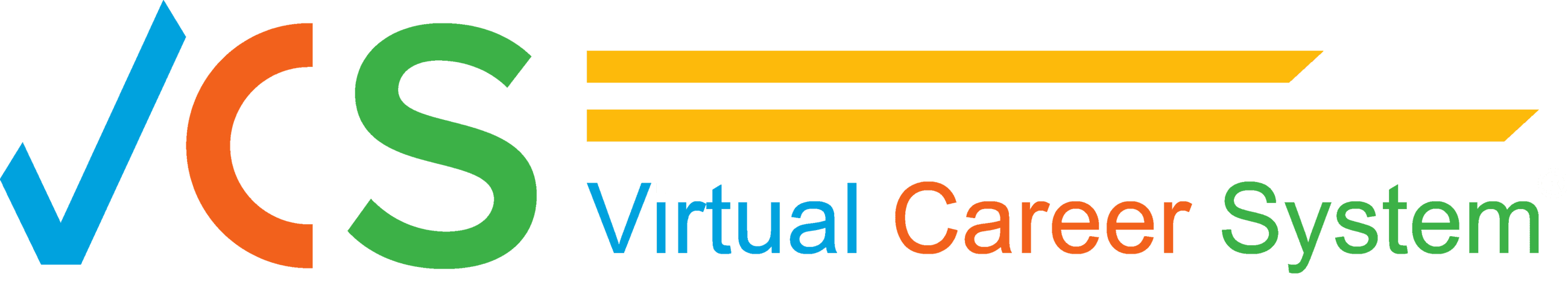 Virtual Career System Logo - VCS - Blue V, Orange C, Green S Opens in new window